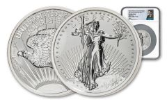 1933–2021 NPF 10-oz Silver Saint-Gaudens Double Eagle Reverse Proof NGC PF70 First Day of Issue w/Mercanti Signature