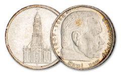 GERMANY 2PC 1934-1936 5 REICHSMARK HIND-POTSDAM AU-UNC