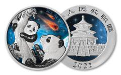 2021 China 30-gm Silver Panda Glowing Galaxy III Gem BU