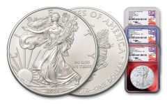 """2021-(PSW) $1 Silver Eagle Type 1 """"Struck At"""" 3-pc Mint Set NGC MS70 First Day of Issue w/Patriotic Foil Cores & Mercanti-Signed Flag Labels"""