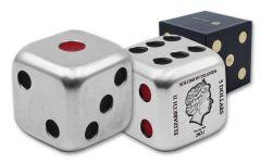 2021 Solomon Islands $5 2-oz Silver Game Die Coin BU