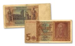 GERMANY 1942 5 REICHSMARK CURRENCY G-VF