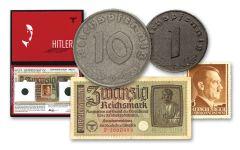 GERMANY 1940-45 1-10 REICHSPFNG NOTE-STAMP ALBUM