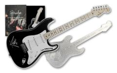 2021 Solomon Islands $2 1-oz Silver Fender® Stratocaster® 75th Anniversary Guitar Shaped Colorized Reverse Proof