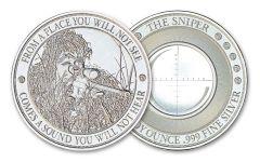 Intaglio Mint 1-oz Silver Sniper Medal Gem BU