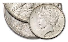 2PC 1922-DS $1 PEACE DOLLAR BU SET