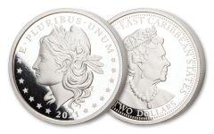 "2021 East Caribbean States $2 2-oz Silver Morgan ""Schoolgirl"" Silver Dollar Commemorative Proof"