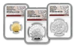 2021 Great Britain Gold & Silver Britannia 3-pc Proof Set NGC PF69UC First Day of Issue