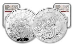 2021 Great Britain £2 1-oz Silver Britannia Proof & Reverse Proof 2-pc Set NGC PF70UC First Day of Issue