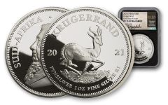 2021 South Africa 1-oz Silver Krugerrand Proof NGC PF70UC First Day of Issue w/Silver Honey Signature Label