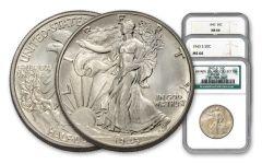1943-PDS Walking Liberty Half-Dollar 3-pc Set NGC MS66