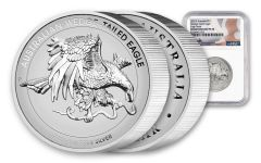 2021 Australia $1 1-oz Silver Wedge-Tailed Eagle High Relief Enhanced Reverse Proof NGC PF70UC w/Flag Label & Mercanti Signature