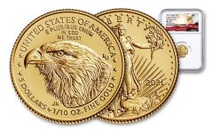 2021 $5 1/10-oz Gold Eagle Type 2 NGC MS70 First Releases w/Eagle Label