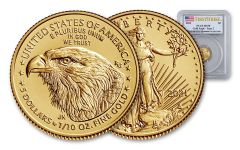 2021 $5 1/10-oz Gold Eagle Type 2 PCGS MS70 First Strike w/Flag Label