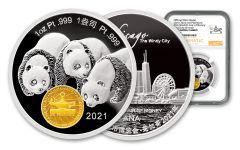 China 2021 1oz Platinum ANA Show Panda NGC PF70 UC FDI