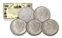 5PC 1878-1882-P $1 MORGAN BU WITH PHI PAPER BOND