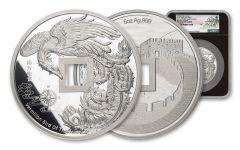 2021 China 5-oz Silver Vermillion Bird Vault Protector Proof NGC PF70UC First Day of Issue w/Song Fei Signature