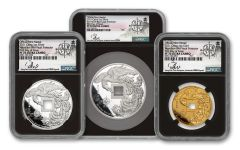 2021 China Gold & Silver Vermillion Bird Vault Protector 3-pc Proof Set NGC PF70UC First Day of Issue w/Song Fei Signature