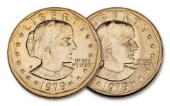 2PC 1979 $1 SUSAN B. ANTHONY WIDE RIM-NARROW RIM AU-BU
