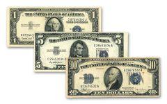 3PC 1935-1957 $1-$5-$10 SILVER CERTIFICATE BLUE SEAL VG-VF SET