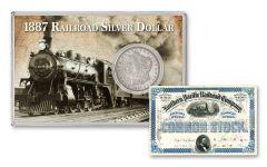 1887-P $1 Railroad Silver Dollar XF w/Railroad Stock Certificate