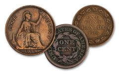3PC 1818-1960 1 CENT US-GBR-CAN LARGE CENT VG-F COLLECTION