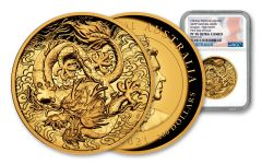 2021 Australia $200 2-oz Gold Chinese Myths & Legends: Dragon High Relief Proof NGC PF70UC First Day of Issue
