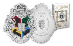 2021 Niue Harry Potter Hogwarts Crest Shaped 1 oz Colorized Proof Silver $2 Coin GEM Proof OGP