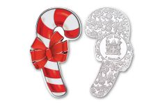 Fiji 2021 $1 1/2oz Silver Holiday Candy Cane Shaped Colorized Uncirculated