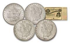 4pc 1879-1882-O Morgan Silver Dollar Set XF-AU