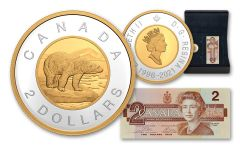 2021 Canada 25 Years of the $2 Piece 1-oz Silver Gilt Gem Proof & Banknote 2-pc Set