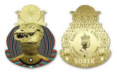 Ghana 2022 2-Cedis CuNi Legacy of Egypt Sobek w/ Gold Plating Uncirculated