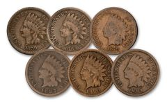 6PC 1859-1909 1 CENT INDIAN DECADES COLLECTION GOOD-VG