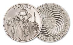 2021 Intaglio Mint 1-oz Silver Vintage Horror Series: Dracula Round Gem BU