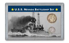 2PC 1914 10 CENT-25 CENT SILVER USS NEVADA G-VF SET