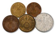 WWII Third Reich Five Coin Reichspfennig Set