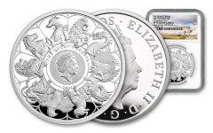 GB 2021 £2 1-oz Silver Queens Beast Completer NGC PF70UC FS - Queen's Beast label