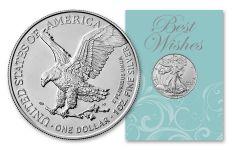 2021 $1 1-oz Type 2 American Silver Eagle BU Best Wishes Card
