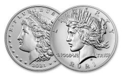 2021(P) Morgan & Peace Silver Dollar 2-pc Set