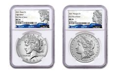 2021(P) Morgan & Peace Silver Dollar 2-pc Set NGC MS70 First Day of Issue w/100th Anniversary Label