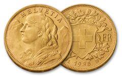Switzerland 20 Francs Vreneli BU