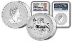 2021 Australia $2 2-oz Silver Wedge-Tailed Eagle Ultra High Relief Piedfort Proof NGC PF70UC First Day of Issue w/Flag Label & Mercanti Signature