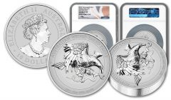2021 Australia $10 10-oz Silver Wedge-Tailed Eagle Ultra High Relief Proof NGC PF70UC First Day of Issue w/Flag Label & Mercanti Signature