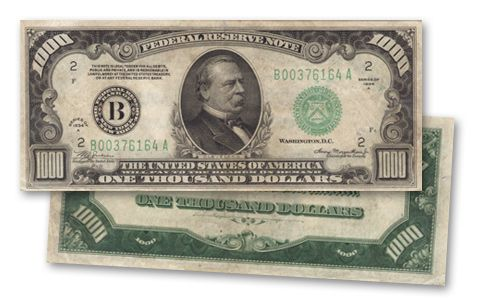 1000 Dollar Federal Reserve Note