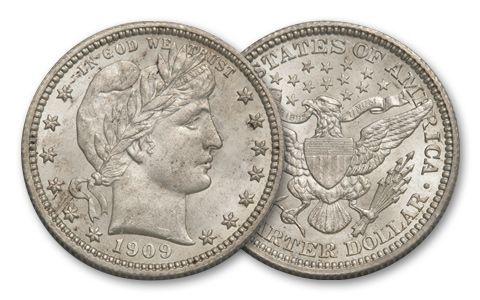 1892-1916 25 Cent Silver Barber BU