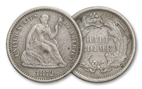 1837-1873 Half Dime Seated Liberty VF