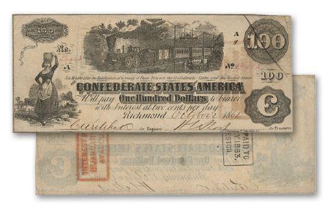 1862 100 Dollar CSA Train Note VF/F