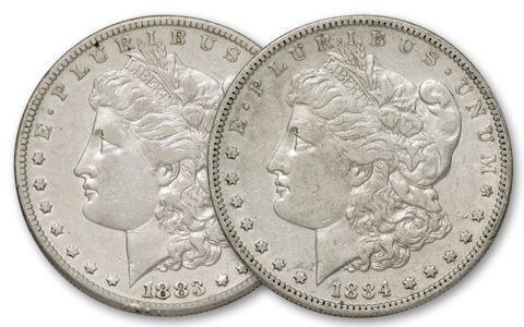 1883-1884-S Morgan Silver Dollar XF 2pc Set