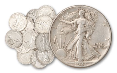1916-1947 Half Dollar Walking Liberty 10 Pieces
