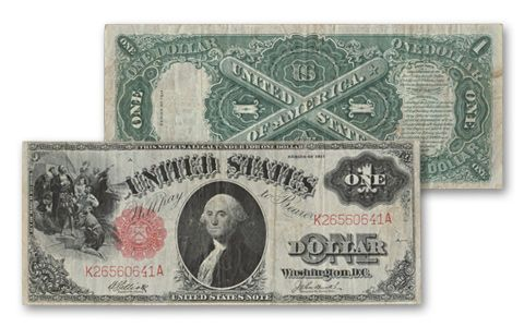 1917 1 Dollar Washington Legal Tender Currency Note VF